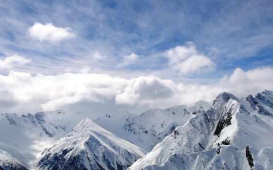 mountains, снег, world