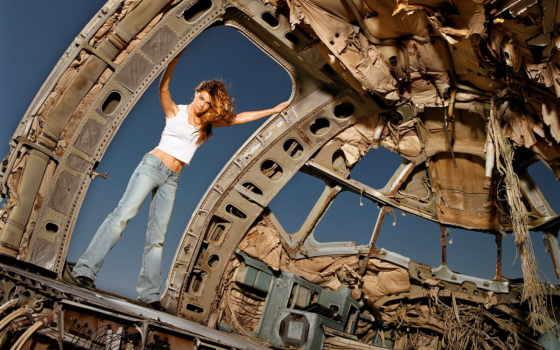 девушка, denise, richards, devushki, красивые, самолета, старого, салоне, самолёт,