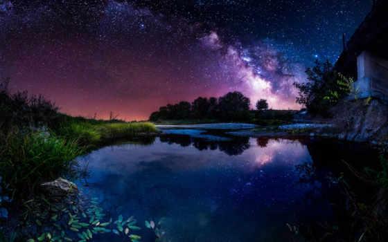 путь, млечный, широкоформатные, мост, небо, ночь, бесплатные, фотографий, звезды, река,