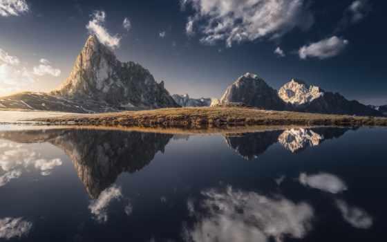 озеро, гора, отражение, del, lago, kartinik, free, agua, reflejo