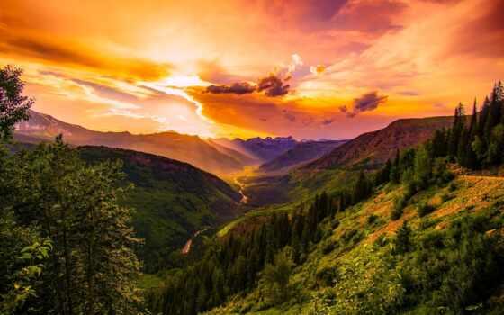 лес, гора, природа, закат, landscape, облако, долина, сша, небо, montan