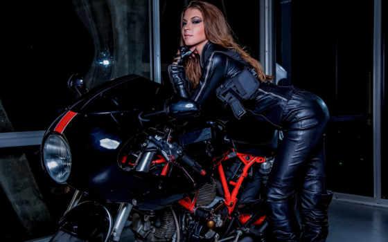 девушка, мотоцикл, motorbike, девушки, марта, leather,
