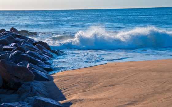 море, landscape, пляж