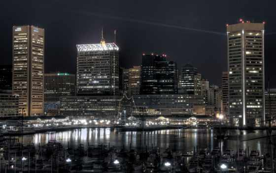 город, ночь, ocean, ночью, sveta, around, порт, катера, здания,