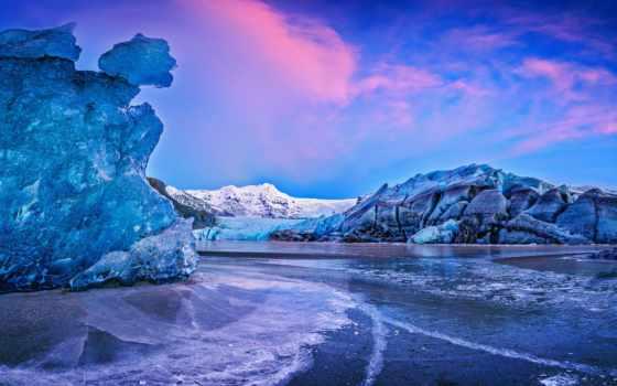 природа, лед, ледник, небо, красиво,