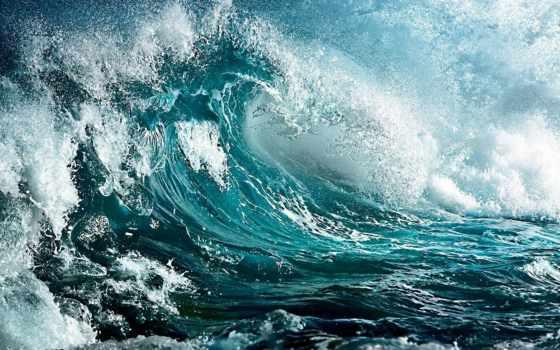 буря, море, волна, небо, waves, бушующее, краски,