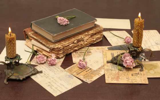 cvety, книга, coffee, свеча, vintage, роза