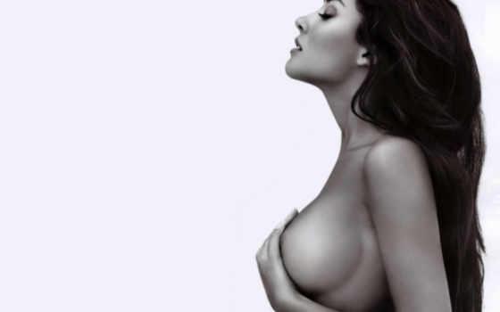 девушки, прекрасные, монохром, грудь, шатенка,
