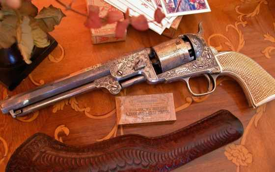 оружие, огнестрельное, пистолет, капсюль, старинное, кобура, кожа