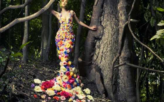 цветы, одежде, print