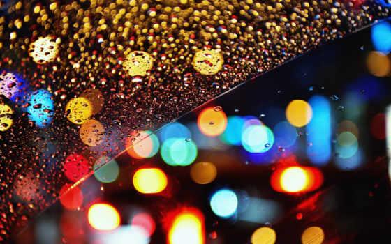 огни, ночь, дождь