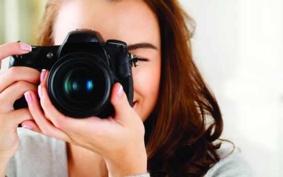 девушка, фотоаппарат, шатенка
