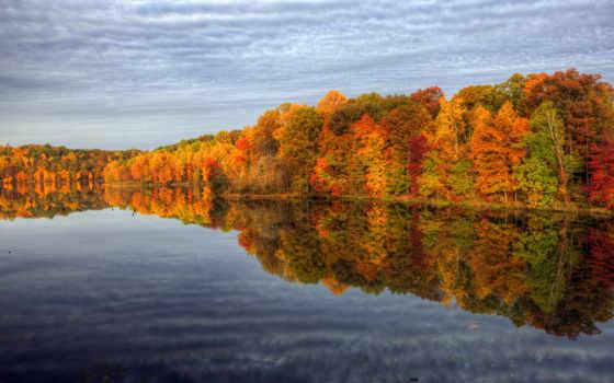 осень, природа, trees, краски, лес, water, озеро, небо,