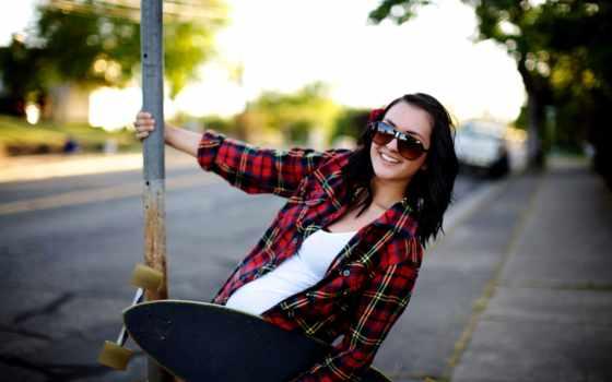 девушка, brunette, очках, очки, skateboard, скейтом, рубашка, лицо,
