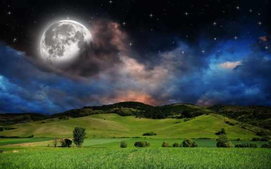 ночь, природа, звезды, небо, луна, луга, холмы, красивые, лунно, margin,