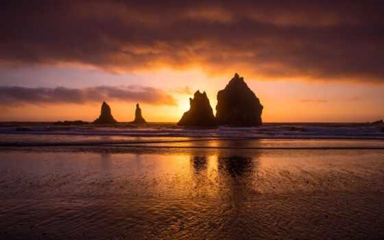 море, закат, red, природа, небо, горизонт, rock, sun, утро, пожаловаться, пляж
