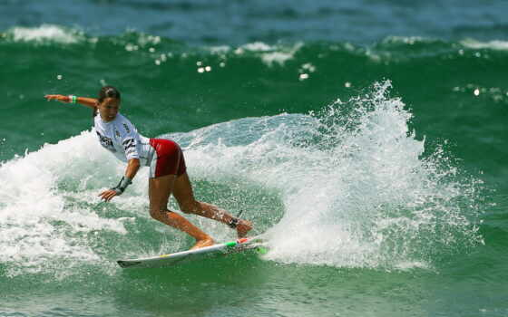 surf, girl, surfing