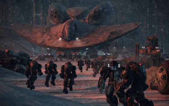 фантастика, солдаты, оружие, корабли, картинка, снег, будущее, корабль, эвакуация,