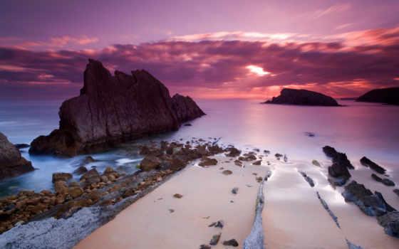 закат, море, розовый