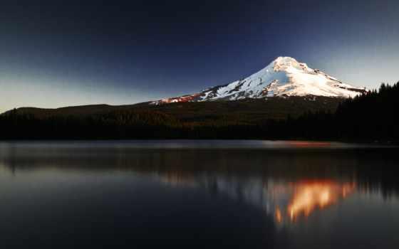 гора, горы, озеро, закат, снег, вершина,