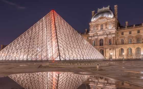 пирамида, louvre, ночь, desktop, high, wide, widescreen,