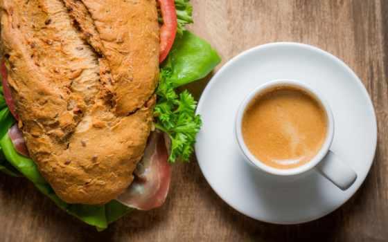 кофе, булка, завтрак, бутерброд