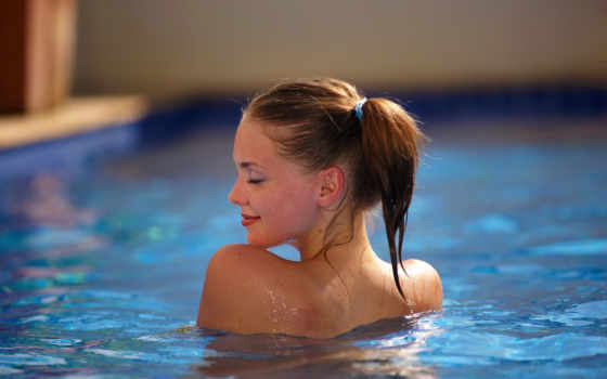 devushka, мокрая, бассейн, шатенка, улыбка, voda, amelie,