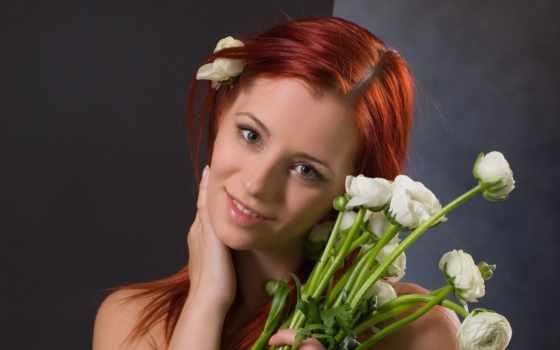 цветы, подари, дверь, devushki,