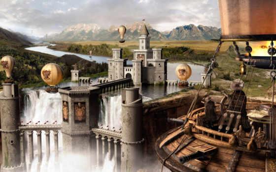 water, scene, природа, fantasy, house, об, тропинка, waterfalls,