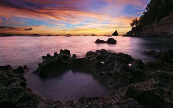 boracay, остров, закат, philippines,