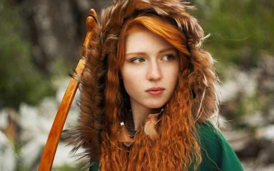 рыжая, девушка, devushki, online, зеленом, волосами, puzzle, балахоне, милые,