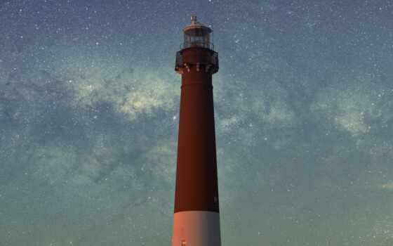 lighthouse, barnegat, небо, дерево, art, state, свет, starry
