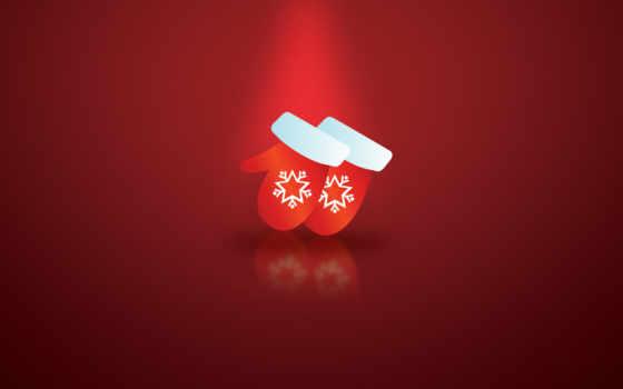 варежки, новый, красный, год, снежинки, зимние, desktop, christmas, gloves, новорічні, вектор,