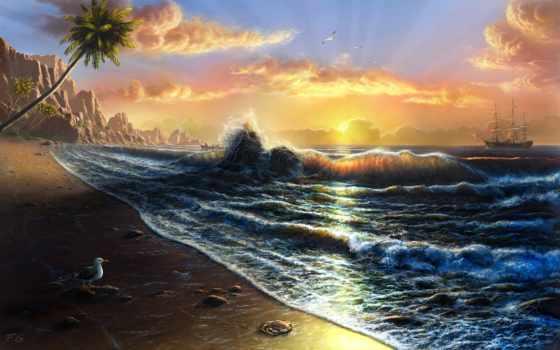 море, art, красивые, fel, digital, картины, landscape, пейзажи, берега, далекие, пляж, природа, фантастические, paintings, tahiti, artist, feliks, моря, votes, rating, photo, рисунки, картина,