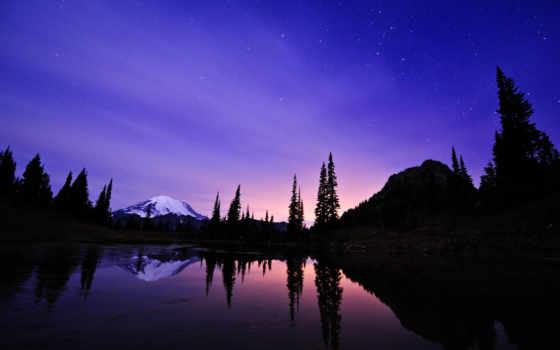 озеро, отражение, tipsoo, david, хоган, snowy, hill, starry, свет,