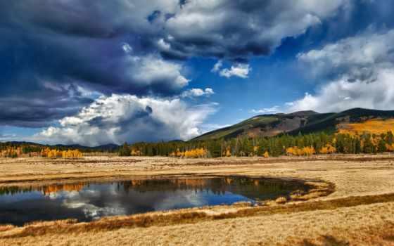 небо, озеро, oblaka, landscape, осень, природа, отражение, trees, water, лес, трава,