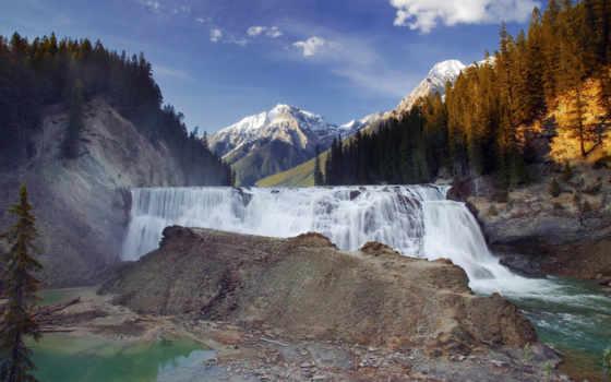 канада, водопад, yoho, park, falls, columbia, british, waterfalls, national, mountains, река,