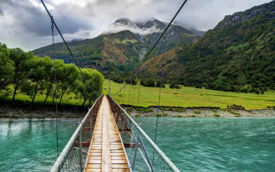 мост, hành, pantalla, mountains,