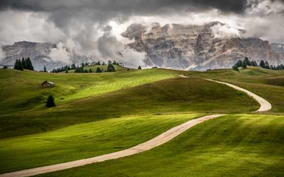 луга, горы, italian, margin, trentino, alto, adige, trees, house,