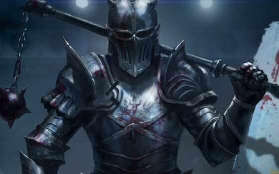 доспех, воин, оружие, fantasy, арта, щит, цеп, кровь