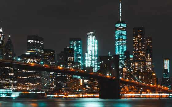 мост, бруклин, город, new, park, york, unite, state