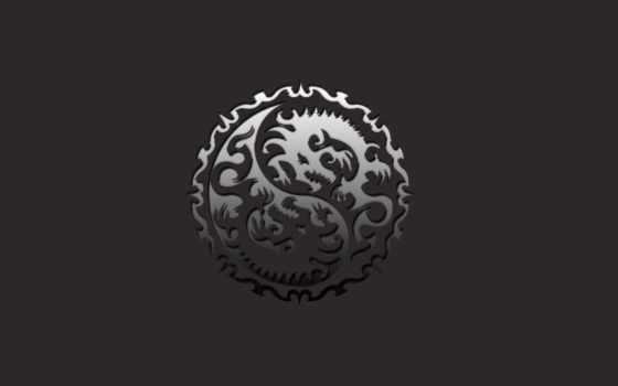 знак, форме, двух, круглый, ажурный, минимализм, драконов, basilisk, знаки, skulls, year, драконы, черно, dragon,