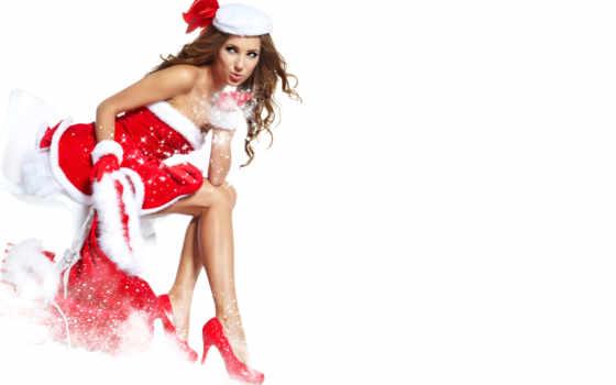 девушка, наряд, шатенка, мешок, улыбка, house, подарки, снег, vip,