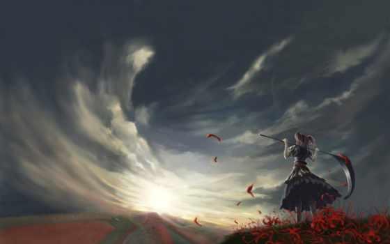 ветер, небо, поле, облака, коса, komachi, onozuka,