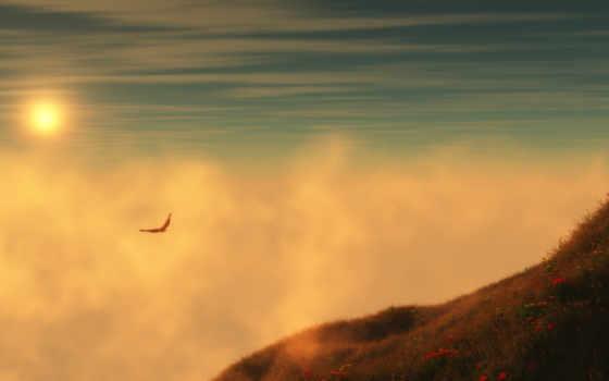 оранжевые небо, горы