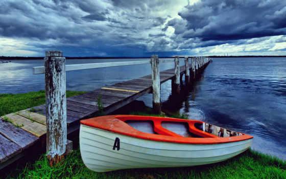 грозовые, тучи, небо, берег, озеро,