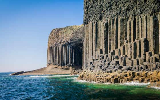 пещера, fingal, остров, стаффа, шотландия, фингалова, июня, расположено, одно,
