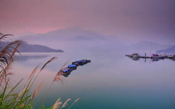 лодки, туман, landscape