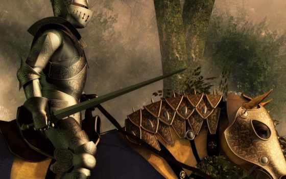 рыцарь, доспехах, коне, сверкающих, мечем, рыцаря, всадник,