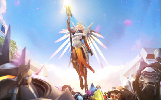 overwatch, mercy, artwork, iphone, mobile,